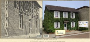 View of the straw bale house in construction in 1921 with exposed beams and bales, and in 2011, with white shutters at the windows, entirely covered in green foliage.